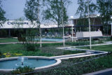 Chicago, suburban Oak Brook, fountains and landscaping at shopping center