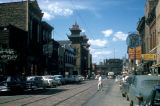Chicago, commercial street and streetcar tracks in Chinatown