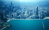 Chicago, aerial view of city and shoreline
