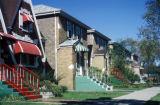 Chicago, colorful awnings on residential street