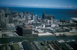 Chicago, view of buildings, Chicago River, and Lake Michigan looking north
