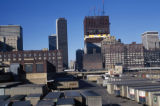 Chicago, view of truck trailer storage area and of Sears Tower under construction