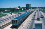 Chicago, Kennedy Expressway and CTA train