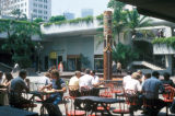 Los Angeles, café and Robert J. Stevenson Fountain in Los Angeles Mall
