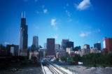 Chicago, view of Loop skyline from south with railroad tracks