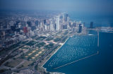 Chicago, aerial view of downtown buildings, Grant Park area and Burnham Harbor
