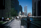 Chicago, downtown walkway along Chicago River
