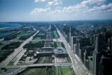 Chicago, aerial view of Grant Park and Michigan Avenue looking south