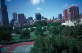 Chicago, view of city skyline and Dearborn Park tennis courts