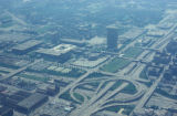 Chicago, aerial view of Chicago Circle interchange and University of Illinois buildings