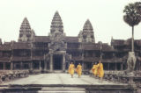 Angkor, monks walking in Angkor Wat