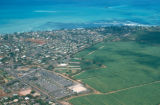 Honolulu, suburban Ewa Beach, aerial view of residential area and plantations