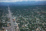 Denver, aerial view of Colfax Avenue (Denver's longest street)