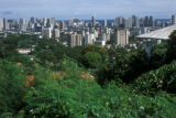 Honolulu, panoramic view of city skyline from Wakiki Heights