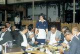 Tokyo, men eating at Chinzanso Garden Restaurant