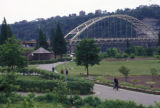 Pittsburgh, view of Fort Pitt Bridge and Point State Park