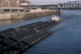 Pittsburgh, tugboat and coal barges on Monongahela River
