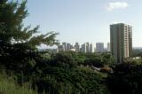 Honolulu, view of city skyline from Pali Highway