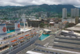 Honolulu, view of downtown and historic liner in Honolulu Harbor
