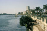Cairo, view of city and felucca on Nile