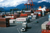 Vancouver, cargo trailers at shipping terminal