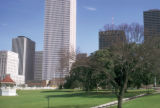 Houston, view of skyscrapers from Sam Houston Park