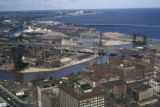 Cleveland, view of Cuyahoga River Valley and Lake Erie