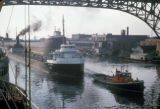 Cleveland, ship and tugboat on Cuyahoga River