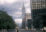 Mexico City, view of Avenida Juarez with Torre Latinoamericana skyscraper in background
