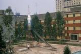 Mexico City, children playing on a playground at the Nonoalco-Tlatelolco housing project