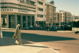 Rabat, veiled woman on city street