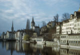 Zürich, view of city and Limmat river