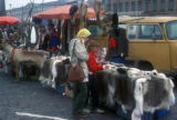 Helsinki, reindeer hides at outdoor market
