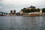 Oslo, view of City Hall and Akershus Fortress from harbor