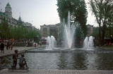 Oslo, Eidsvolls Plass, city square with fountains and statues