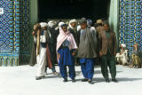 Mazar-e Sharif, Muslims at entrance to Mosque of Hazrat Ali
