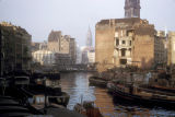 Hamburg, damaged buildings in Nicolai Fleet canal area
