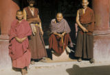 Tibet, group of lamas (Buddhist priests)