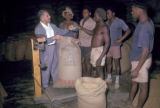 Luanda, men examining bulk coffee beans