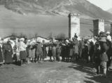 Group of villagers singing and dancing in Svanetia