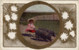 A girl sitting on a pig-driven cart, Milwaukee, Wis.