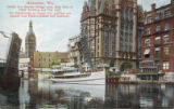 Grand Ave. Bascule Bridge open, with View of Pabst Building and City Hall