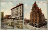 North west Cor. E. Water & Wis. Sts., 1867.; Northwest Cor. E. Water & Wis. Sts., 1910.