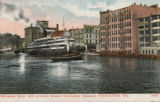 Milwaukee River with Excursion Steamer Christopher Columbus, Milwaukee, Wis.