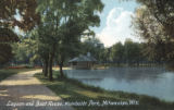 Lagoon and boat house, Humboldt Park, Milwaukee, Wis.
