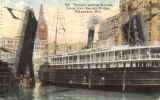Steamer passing through Grand Ave. Bascule Bridge, Milwaukee, Wis.