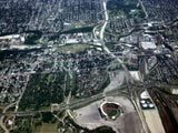 Aerial view of Milwaukee County Stadium