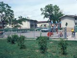 Highland Park public housing development and playground