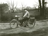 Man on Harley Davidson motorcycle