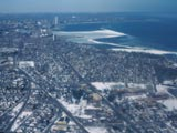 Aerial view of Bay View in winter